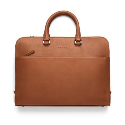 Leren briefcase, cognac